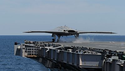 An X-47B Unmanned Combat Air System (UCAS) demonstrator launches from the aircraft carrier USS George H.W. Bush (CVN 77)