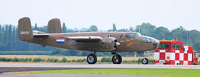 B25 Mitchell of the Royal Netherlands Dutch Historic Flight lining up at RNAS Yeovilton