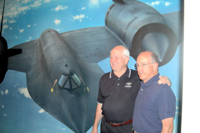 Ken Collins and Dr Jim Griffin with A-12 Blackbird Southern Museum of Flight