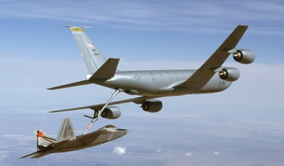 KC-135R Stratotanker refuels an F-22 Raptor. U.S. Air Force photo by Kevin Robertson.