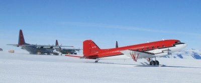 LC-130s and a Turbine DC-3 on skis at Williams Field (NZWD) McMurdo Antarctica