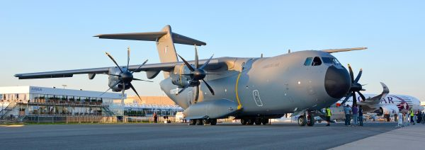 The A400M military airlifter on display at the 2014 ILA Berlin Air Show.