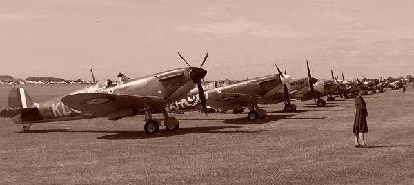 Line up at Duxford Flying Legends