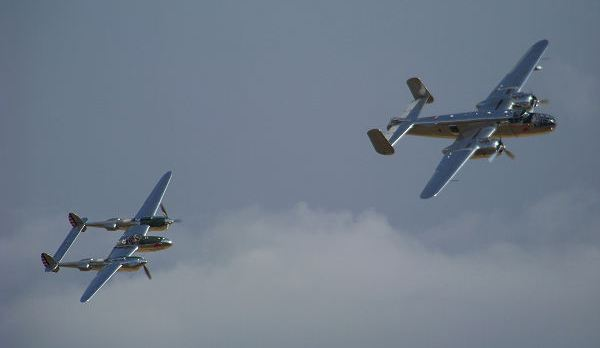 Lightning and Mitchell in a flypast
