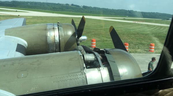 B-17 Aluminum Overcast left engines view