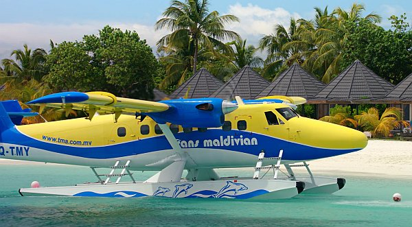 Twin Otter seaplane preparing to dock in the Maldives, from Living in the Age of Airplanes