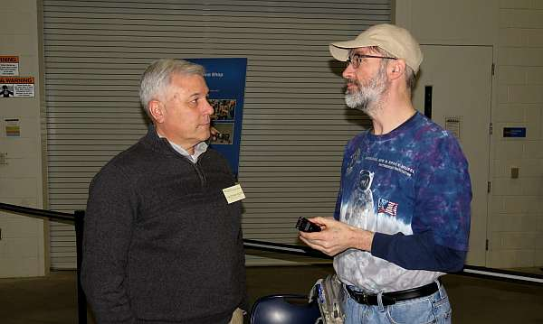 Christopher Moore (L) and David Vanderhoof at the Mary Baker Engen Restoration Hangar