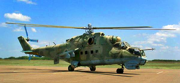 An MI-24 was displayed at the 2017 Heli-Expo. Courtesy Cold War Air Museum.
