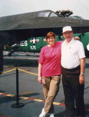 Janet Remak and Joe Ventolo Jr. with the A-12 on the Intrepid