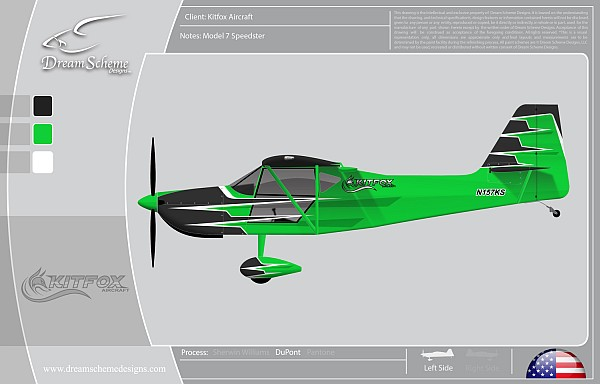 Kitfox Aircraft Speedster with paint scheme designed by Jason Noll of Dream Scheme Designs,