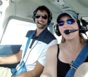 Nicki and her flight instructor.