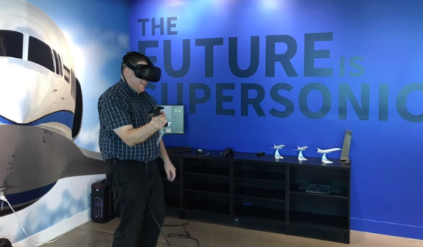 Isaac Alexander at Boom Supersonic HQ June 2017, looking through the aircraft in virtual reality.