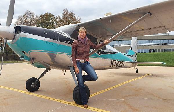 AOPA Senior Vice President, Aviation Strategy and Programs Katie Pribyl with Buck.