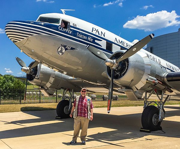 Micah with a DC-3 at the Smithsonian's National Air & Space Museum, Innovations in Flight Day 2016. Photo by Brian Coleman.