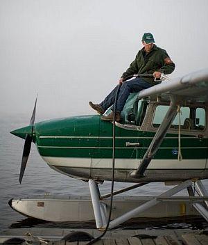 Igor Sikorsky III gassing up at Munsungan Lake.