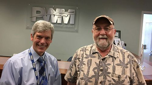 PWM Airport Director Paul Bradbury & Main(e) man Micah.