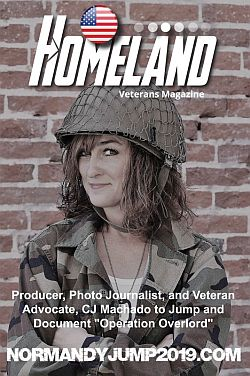CJ Machado on the cover of Homeland Magazine promoting Normandy Jump 2019.