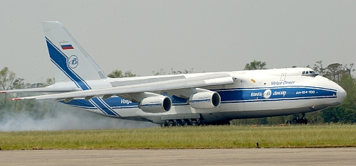 Russian AN-124 Condor aircraft lands at Naval Air Station Joint Reserve Base, New Orleans from the Netherlands to deliver a diesel powered water pump in support of Hurricane Katrina relief efforts. The Navy's involvement in the Hurricane Katrina humanitarian assistance operations are led by the Federal Emergency Management Agency (FEMA), in conjunction with the Department of Defense. U.S. Navy photo by Photographer's Mate 2nd Class Dawn C. Morrison (RELEASED)