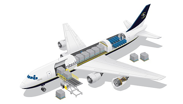 Cut away illustration. of Samaritan's Purse DC-8 used for emergency relief.