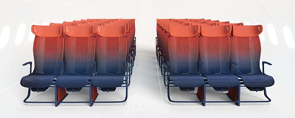 """Move"" prototype airline seats. Courtesy Layer Design."