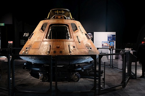 The Apollo 11 capsule at the Museum of Flight.